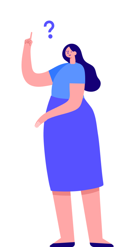 Illustration of a girl with a question mark on top of his head