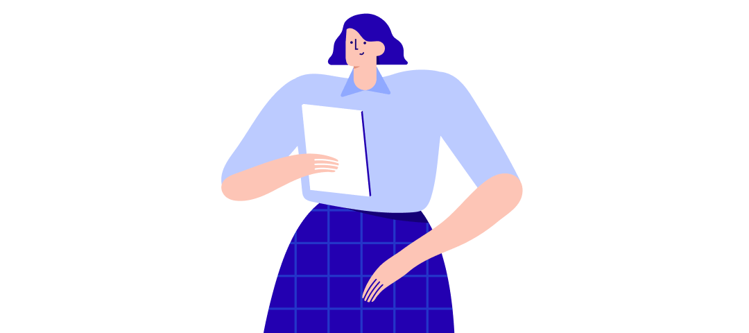 Illustration of a woman reading a document