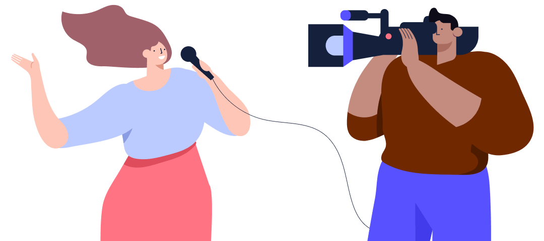 Illustration of a woman journalist talking in front of a cameraman