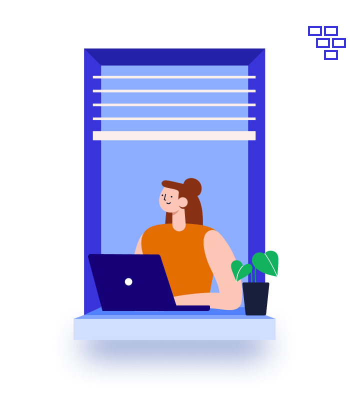 Illustration of a woman at the window working with a laptop during the day