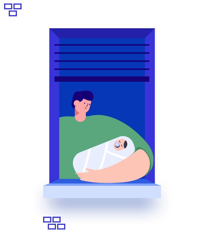 Illustration of a man at the window holding a toddler at night